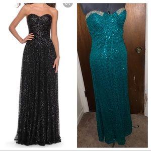 {La Femme} emerald Column gown